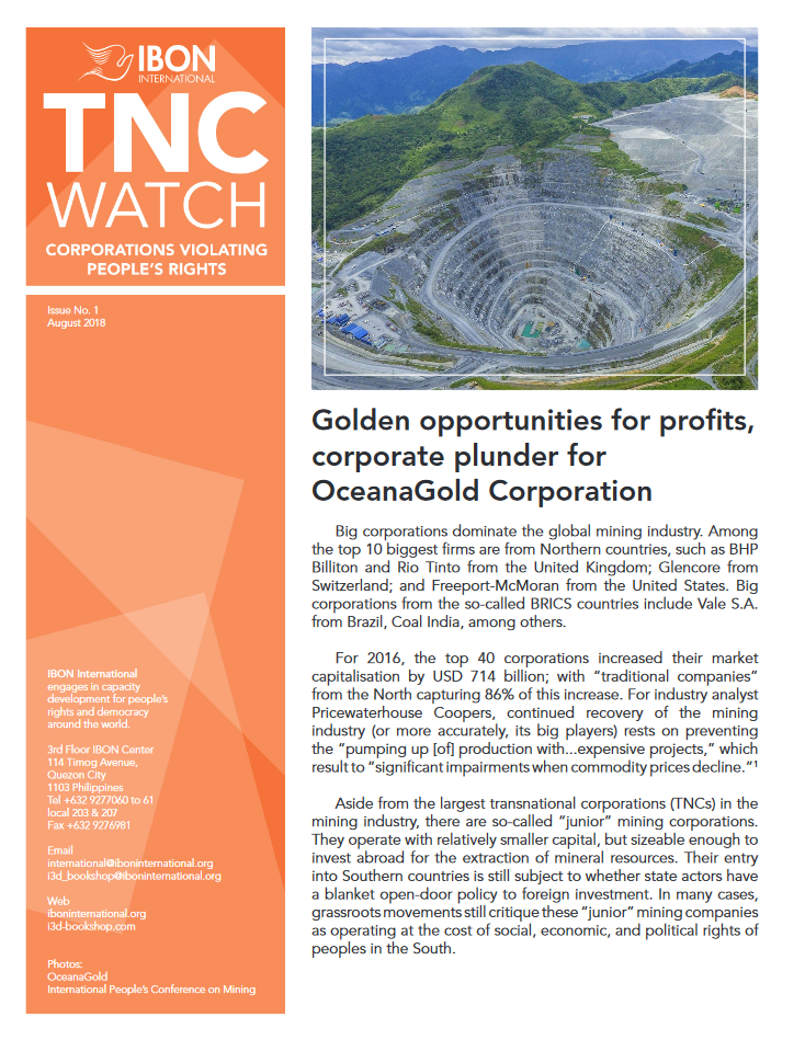 Golden opportunities for profits, corporate plunder for OceanaGold Corporation