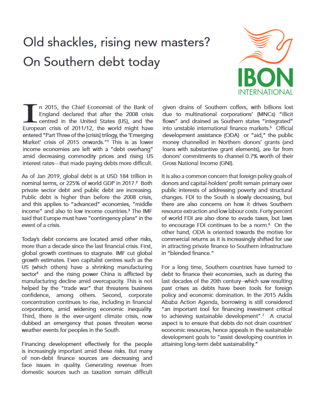 Old shackles, rising new masters? On Southern debt today