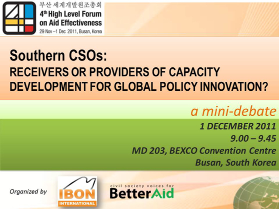 HLF4 mini-debate: Southern CSOs' role in capacity development for global policy innovation