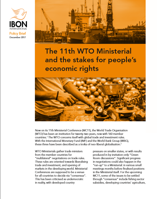 The 11th WTO Ministerial and the stakes for people's economic rights