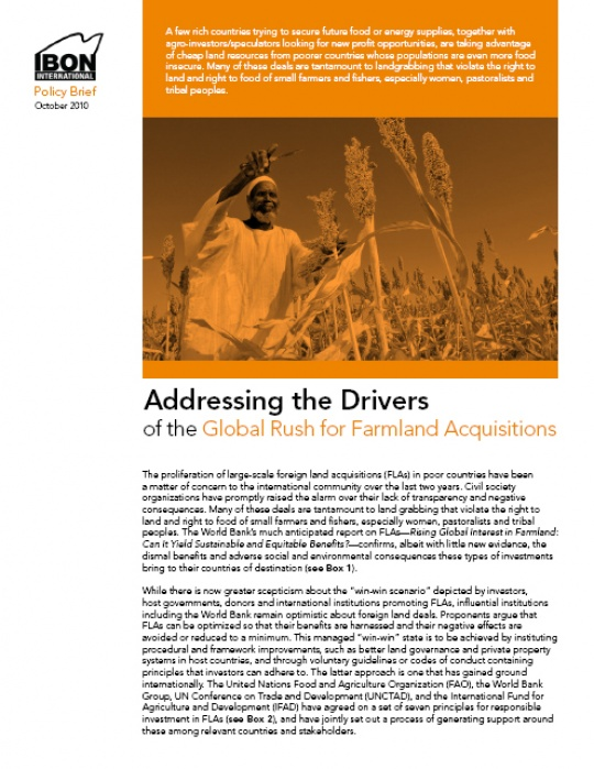 Addressing the Drivers of the Global Rush for Farmland Acquisitions