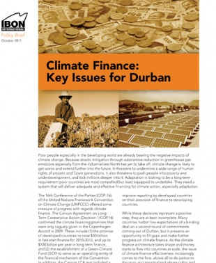 Climate Finance: Key Issues for Durban