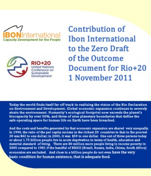 Contribution of IBON International to the Zero Draft of the Outcome Document for Rio+20
