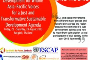 Asia-Pacific CSO Meet on the post-2015 Process Opens Application