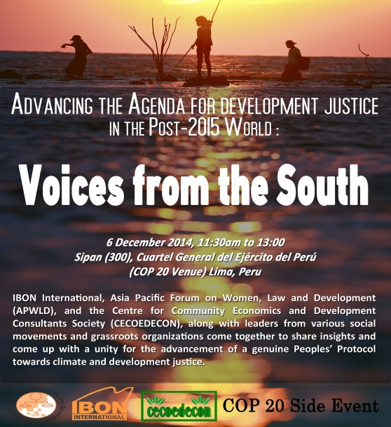 COP 20 Side Event: Advancing the Agenda for Development Justice in the Post-2015 World
