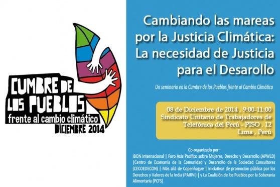 Un seminario en la Cumbre de los Pueblos al Cambio Climatico