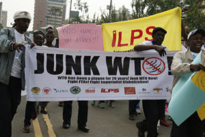 Global activists welcome WTO Ministers with protests