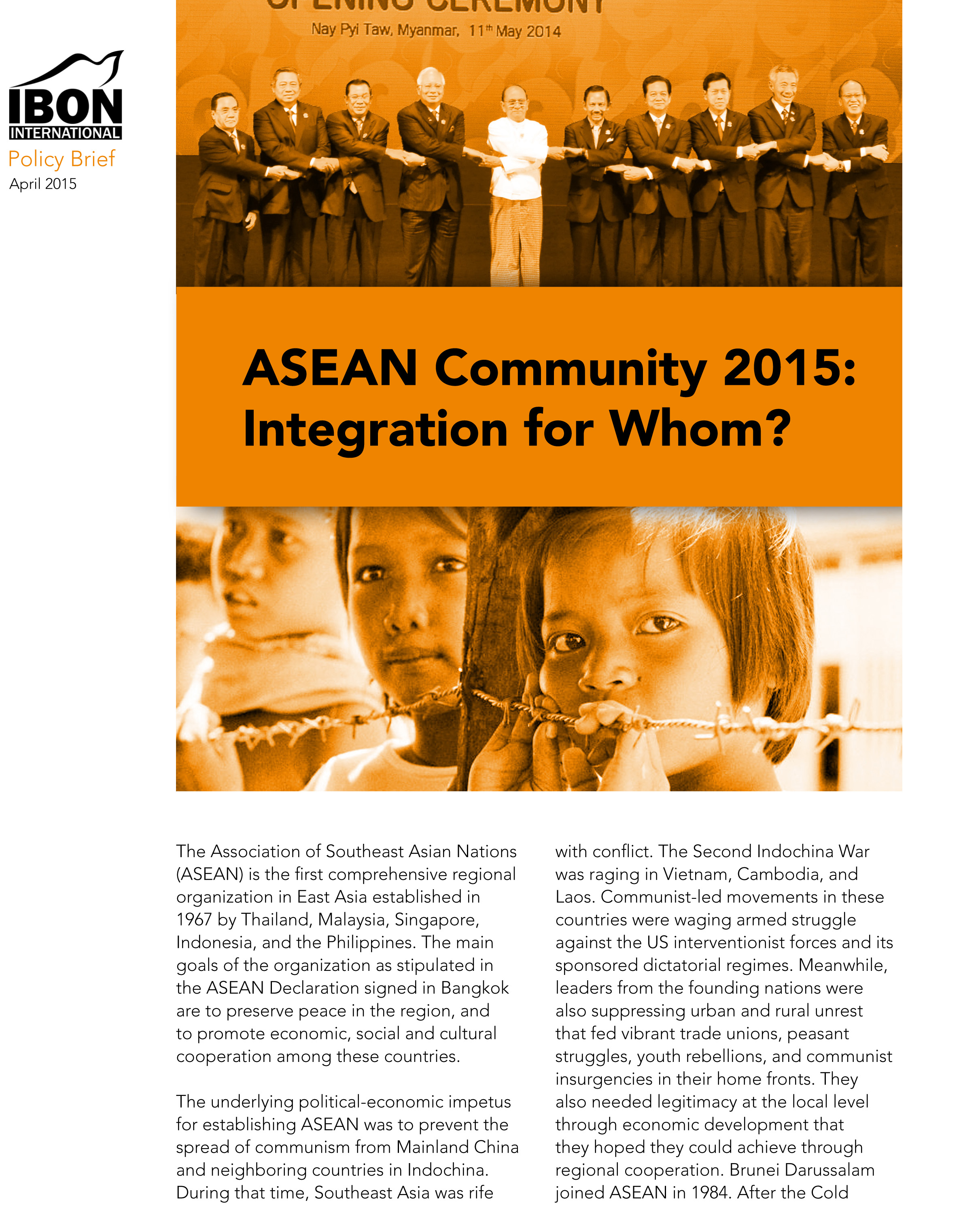 ASEAN Community 2015: Integration for Whom?