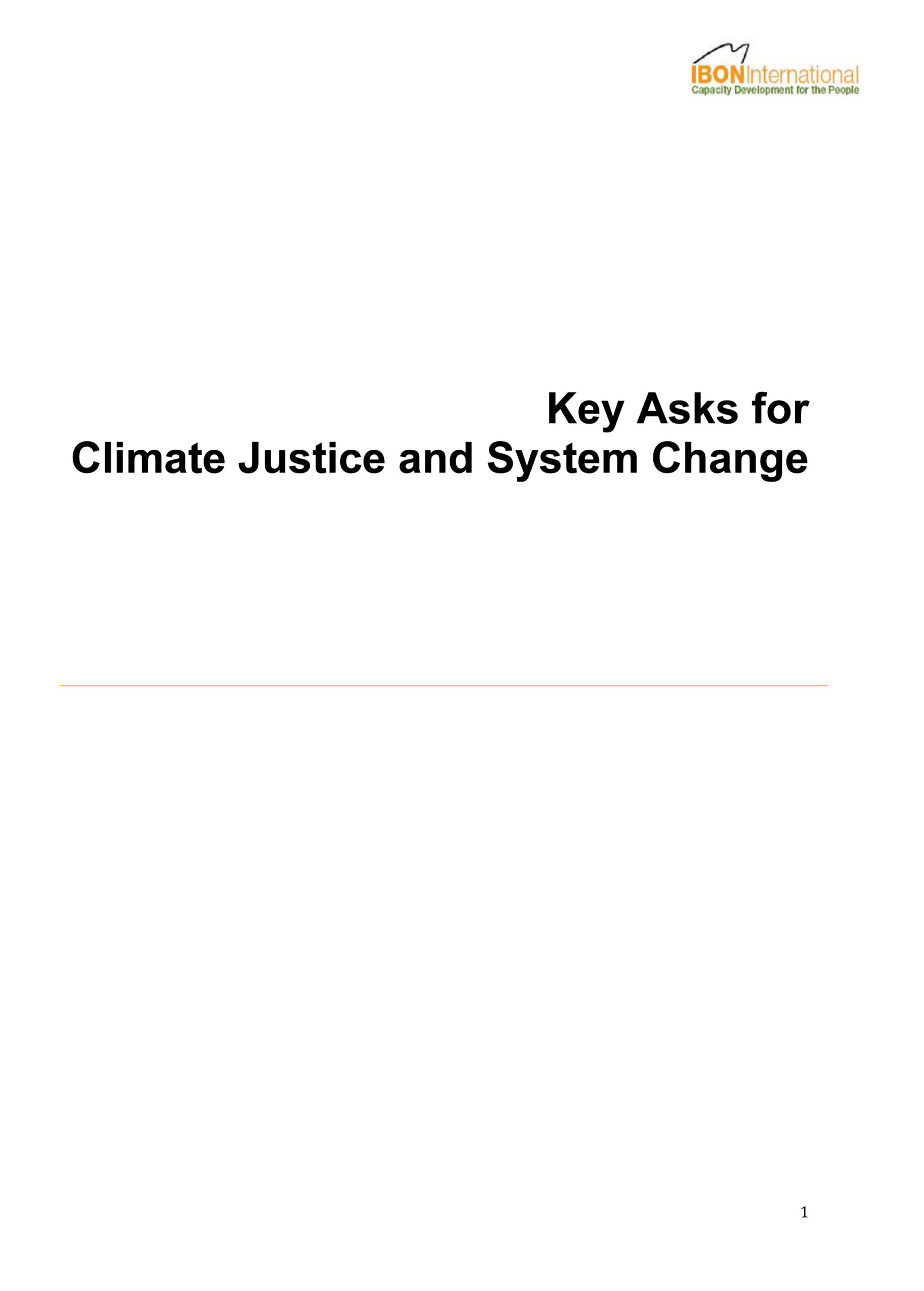 Key Asks for Climate Justice and System Change