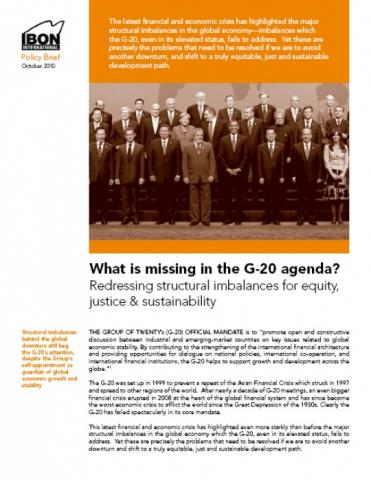 What is missing in the G-20 agenda?