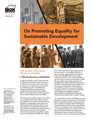 On Promoting Equality for Sustainable Development