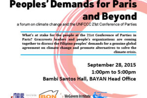 Save the Date: Peoples Demands for Paris and Beyond – 28 September 2015