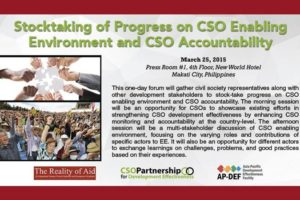 Stocktaking of Progress on CSO Enabling Environment and CSO Accountability
