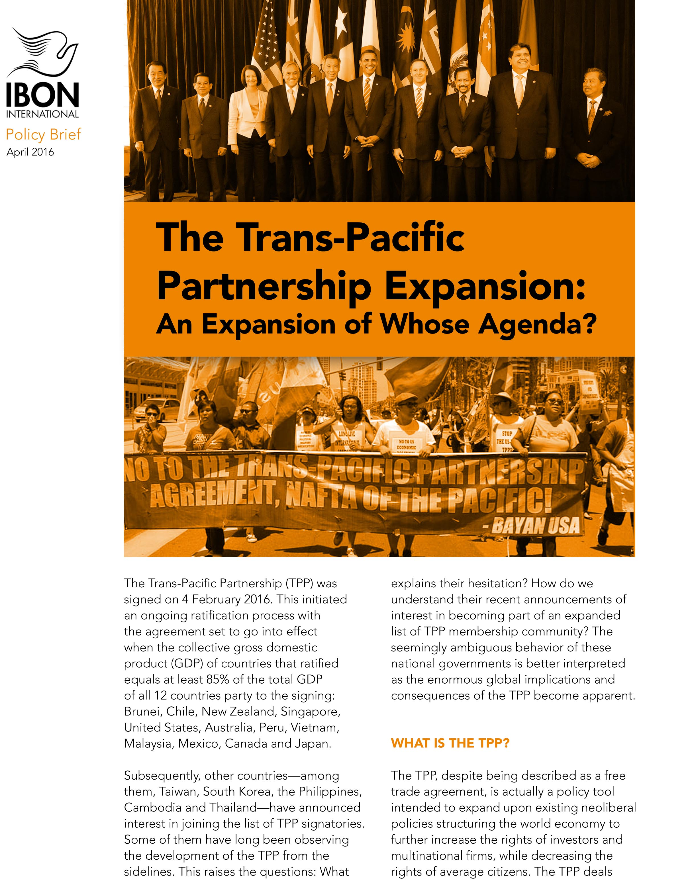 The Trans-Pacific Partnership Expansion: An Expansion of Whose Agenda?