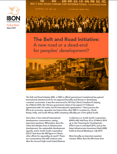 The Belt and Road Initiative: A new road or a dead-end for peoples' development?