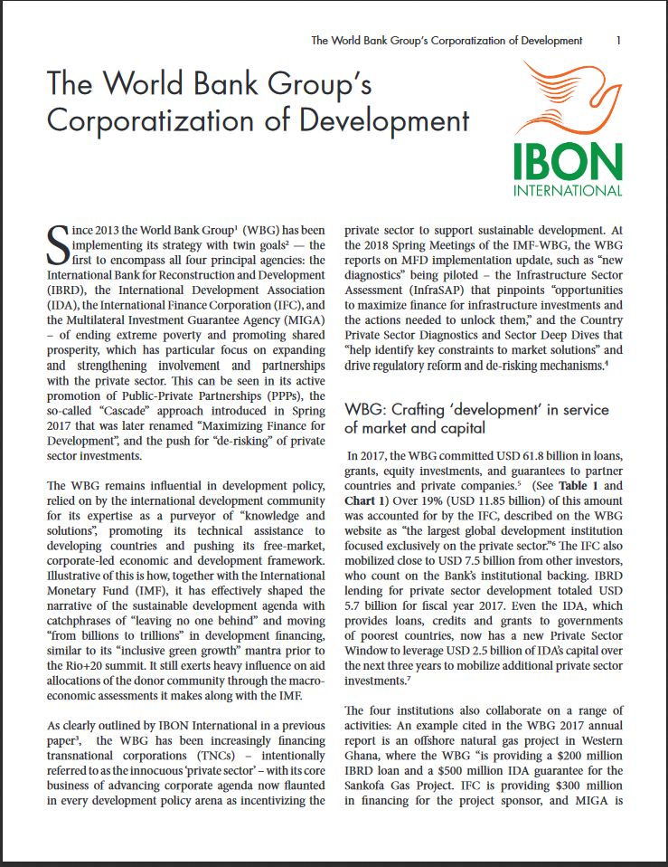The World Bank Group's Corporatization of Development