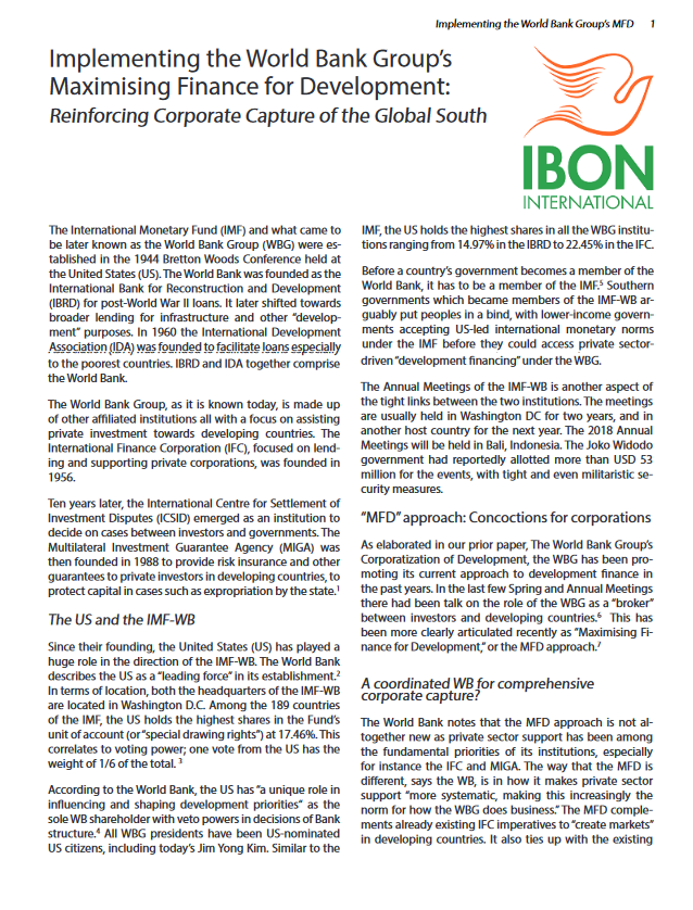 Implementing the World Bank Group's MFD: Reinforcing Corporate Capture of the Global South