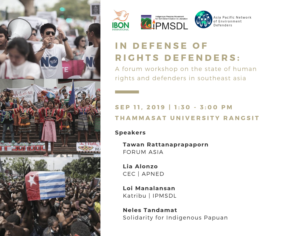 In Defense of Rights Defenders: A Forum-Workshop on the State of Human Rights & Defenders in Southeast Asia