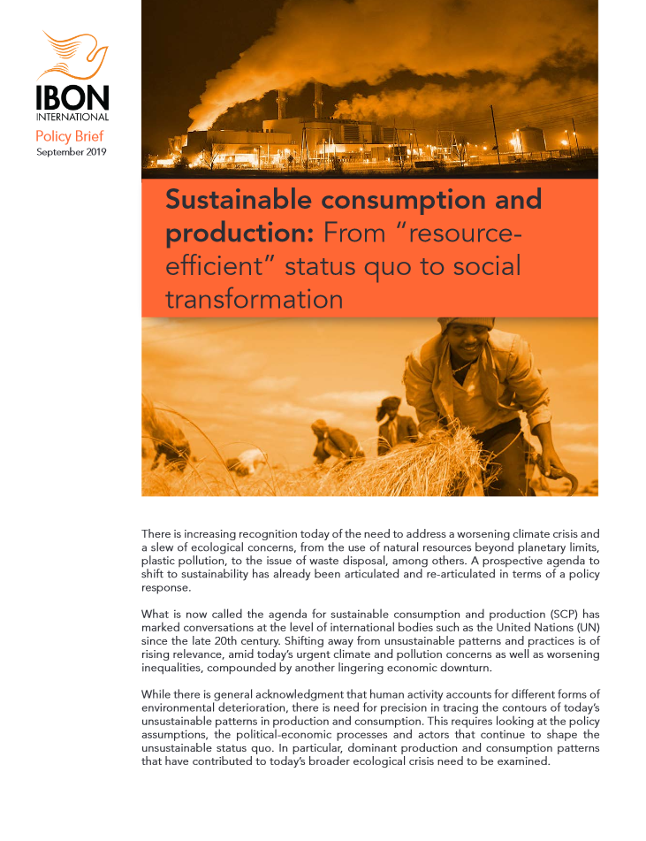 "Sustainable consumption and production: From ""resource-efficient"" status quo to social transformation"