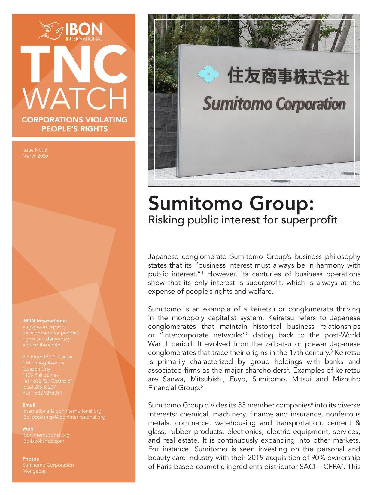 Sumitomo Group: Risking public interest for superprofit