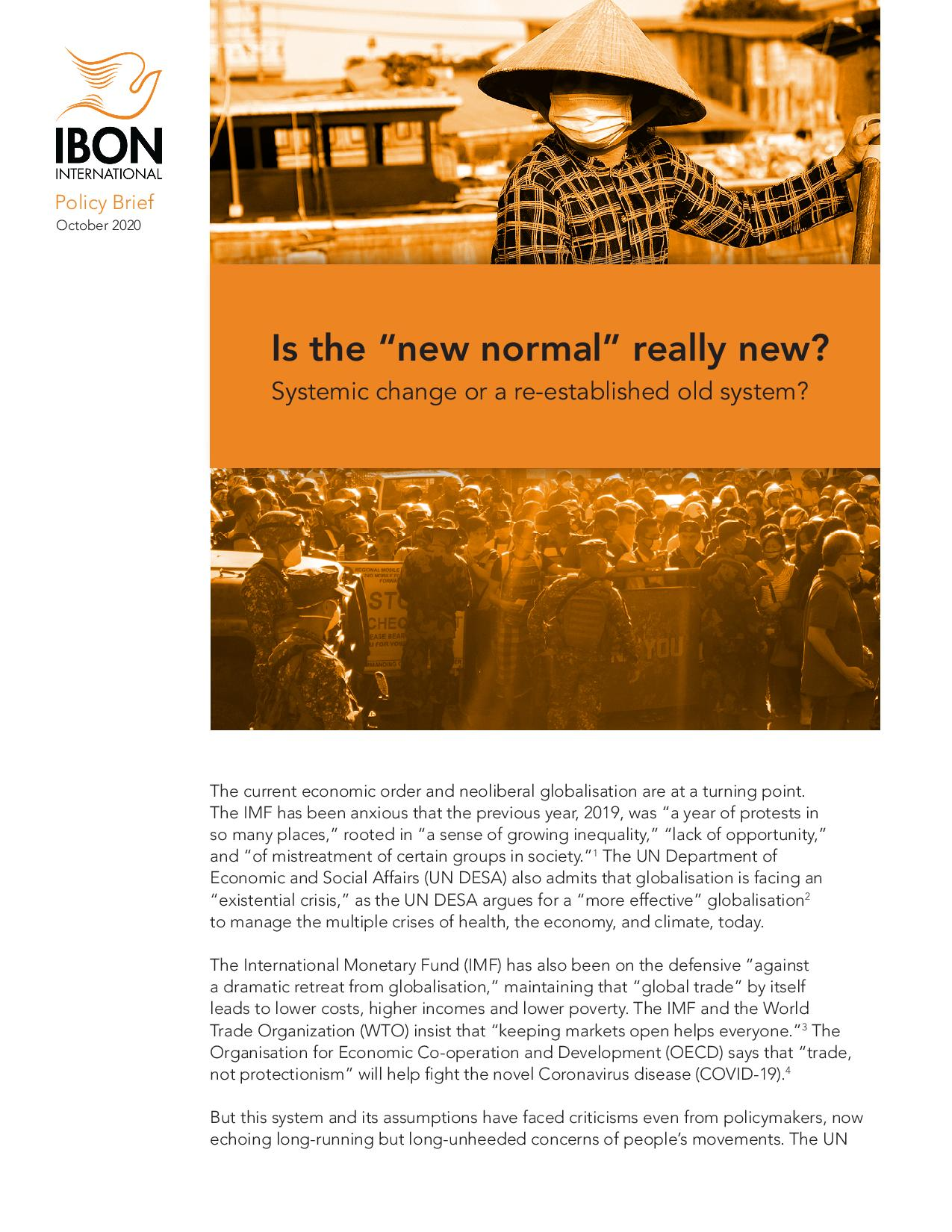 "Is the ""new normal"" really new?: Systemic change or a re-established old system?"