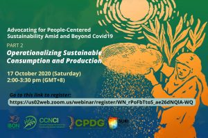 WEBINAR SERIES / Advocating for People-Centered Sustainability Amid and Beyond COVID-19 (17, 9 October)