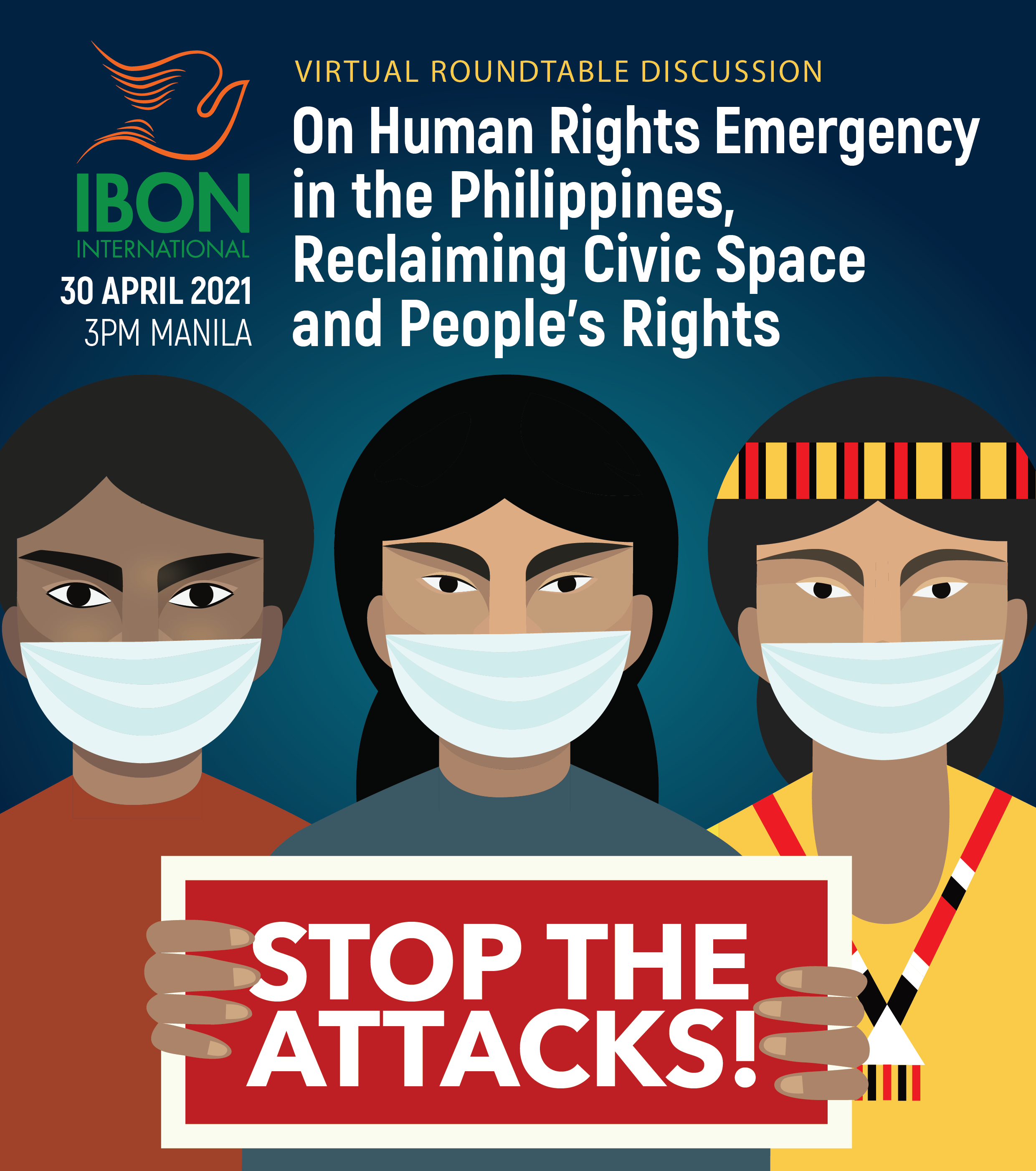Virtual Roundtable Discussion on Human Rights Emergency in the Philippines, Reclaiming Civic Space and People's Rights (April 30)