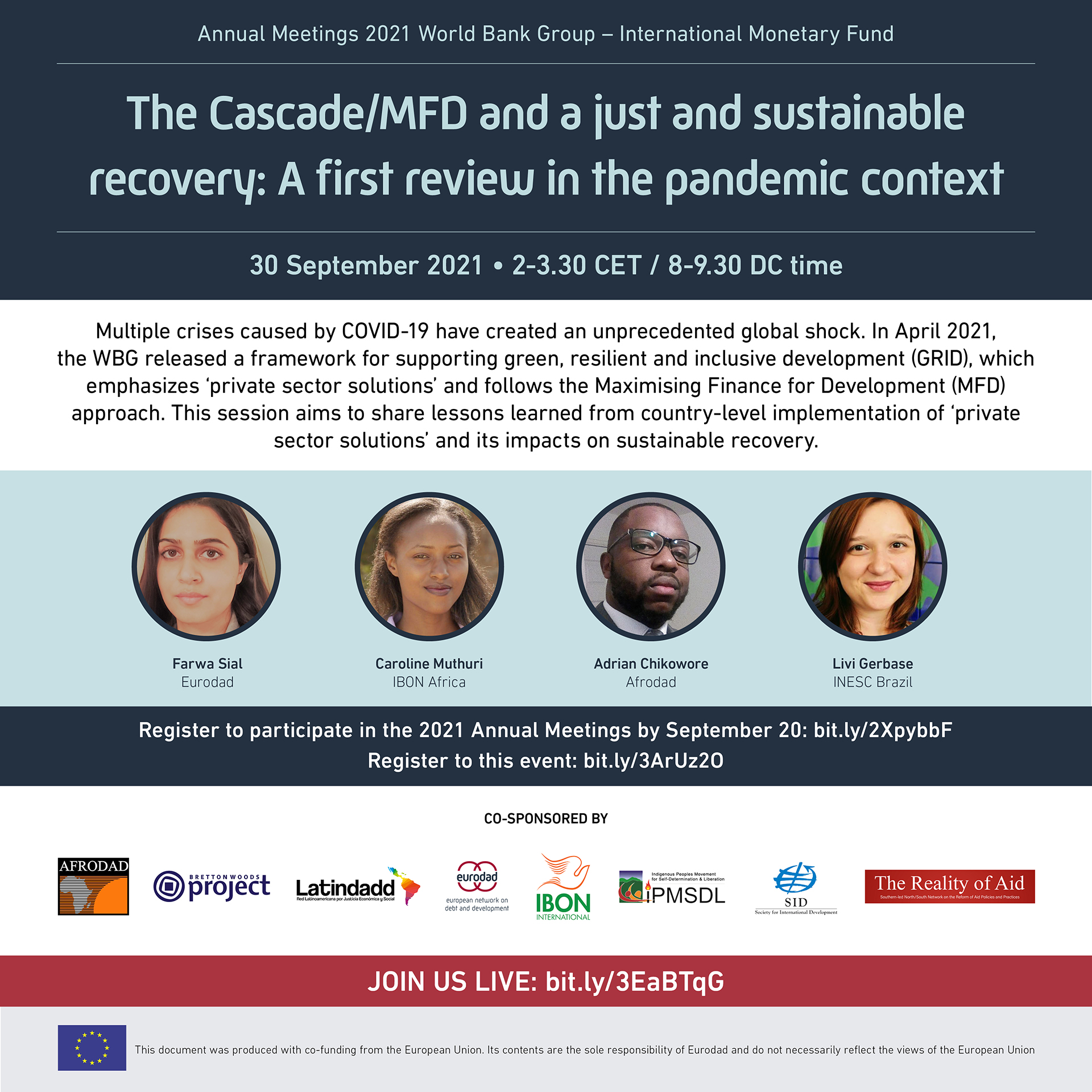 Online forum: The Cascade/MFD and a just and sustainable recovery: The first review in a pandemic context (September 30)